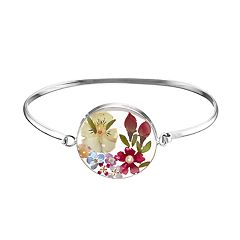 Sterling Silver Pressed Flower Circle Bangle Bracelet
