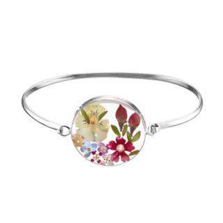Sterling Silver Pressed Flower Circle Bangle Bracelet