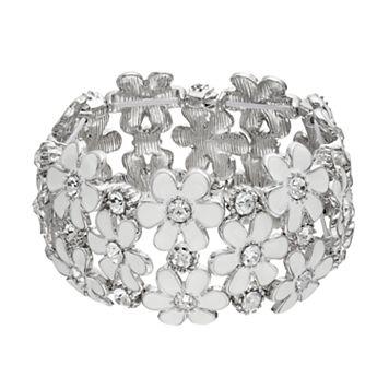 White Flower Stretch Bracelet