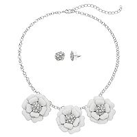 White Flower Statement Necklace & Stud Earring Set