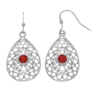 Red Stone Openwork Nickel Free Teardrop Earrings