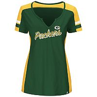 Plus Size Majestic Green Bay Packers Notched Tee