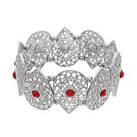 Red Stone Openwork Teardrop Stretch Bracelet