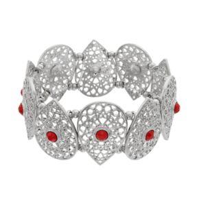 Red Stone Openwork Teardrop Stretch Bracelet
