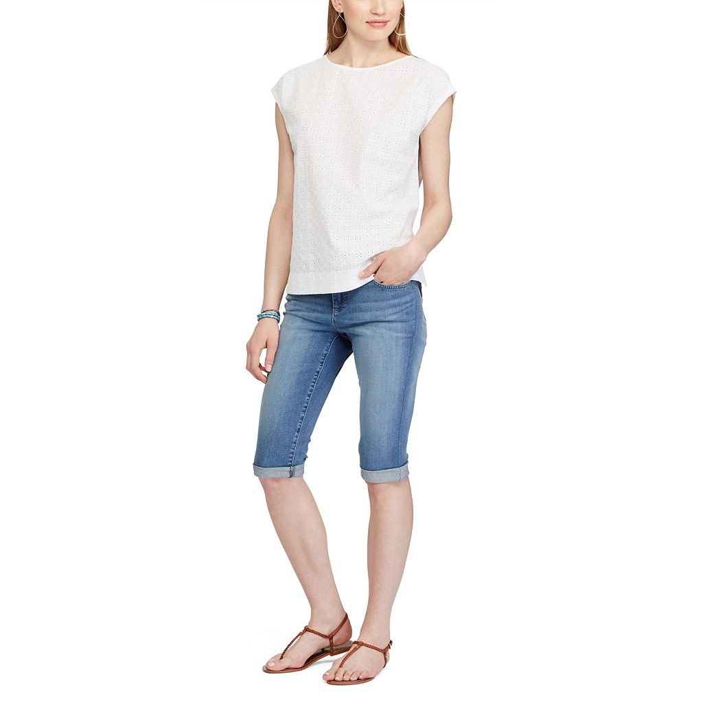 Women's Chaps Eyelet Lace-Front Tee