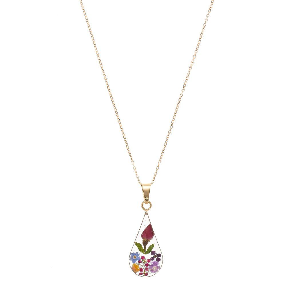 14k Gold Over Silver Pressed Flower Teardrop Pendant Necklace