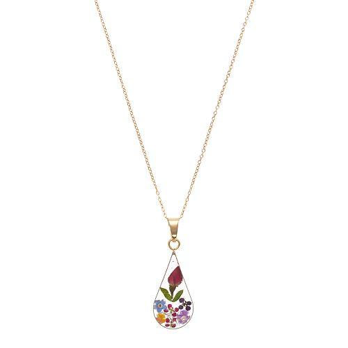14k Gold Over Silver Pressed Flower Teardrop Pendant Necklace
