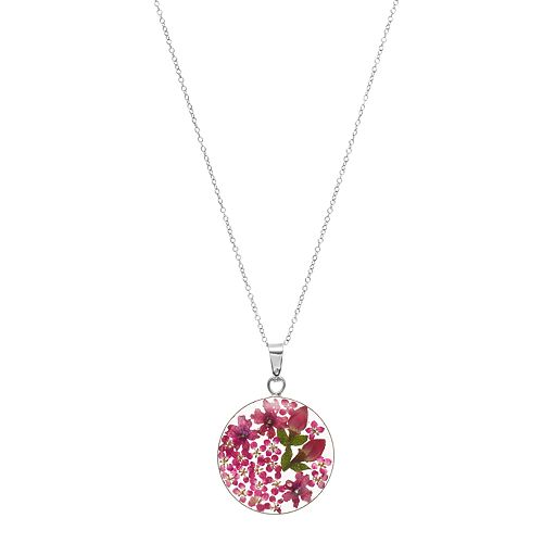 Sterling Silver Pink Pressed Flower Circle Pendant Necklace