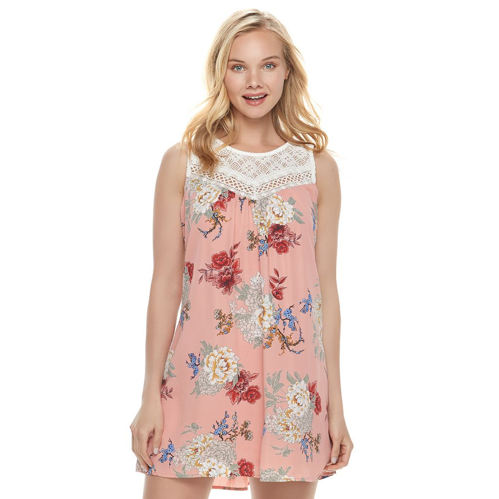 Juniors' Lily Rose Crochet Yoke Shift Dress