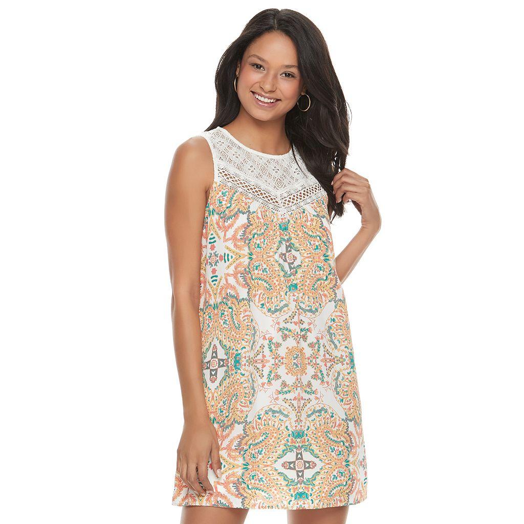 Juniors' Lily Rose Crochet Yoke Shift Dress