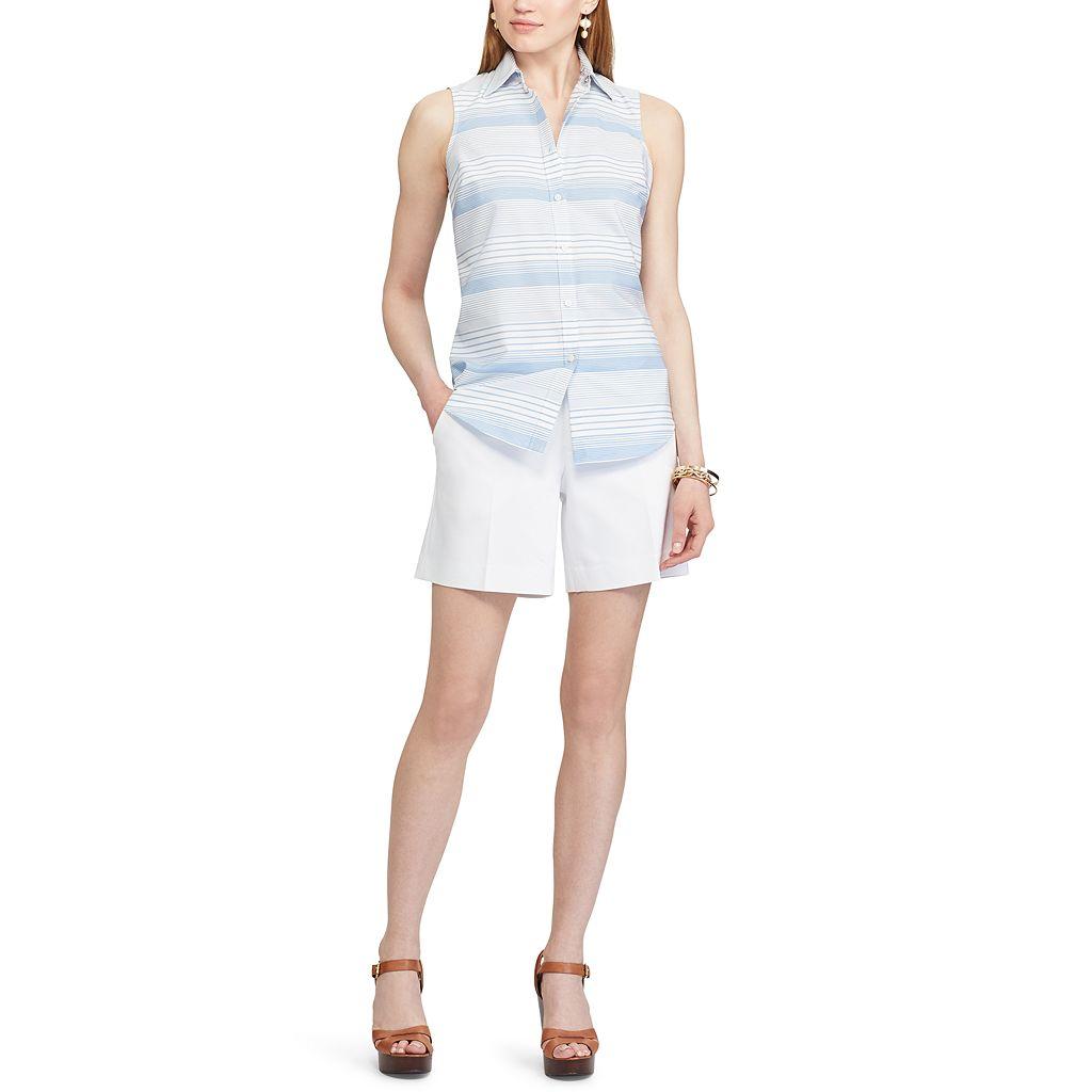 Women's Chaps Printed Sleeveless No-Iron Shirt