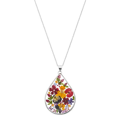 Sterling Silver Pressed Flower Teardrop Pendant Necklace