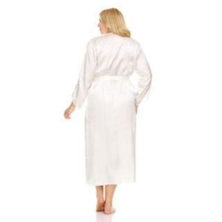 Plus Size Flora by Flora Nikrooz Lace-Trim Charmeuse Long Robe