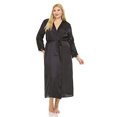 Plus Size Flora by Flora Nikrooz Lace-Trim Charmeuse Satin Long Robe
