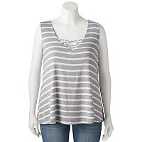 Juniors' Plus Size Living Doll Knit Cross Front Tank