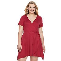 Juniors' Plus Size Living Doll Shark-Bite Wrap Dress