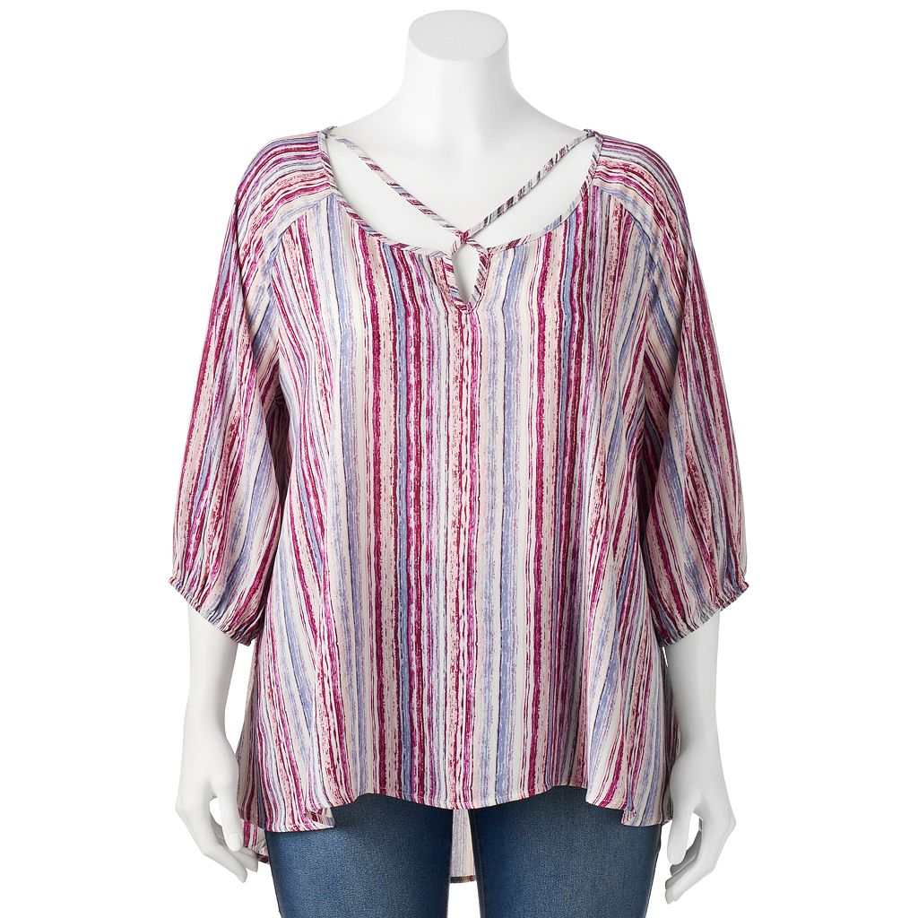 Juniors' Plus Size Living Doll Woven Print Cross Front Top