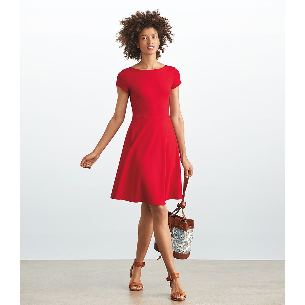 Women's Chaps Ponte Fit & Flare Dress