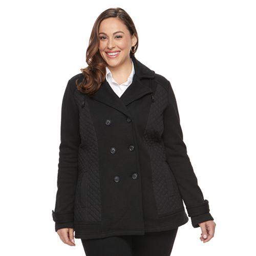Plus Size Sebby Collection Fleece Peacoat