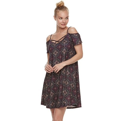 Juniors' Mudd® Strappy Off-the-Shoulder Fit & Flare Dress