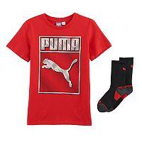 Boys 8-20 PUMA Boxed Logo Tee & Socks