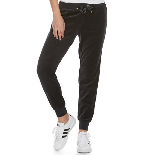 Women's Juicy Couture Solid Velour Midrise Jogger Pants