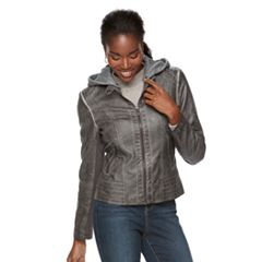 Women's Sebby Collection Hooded Faux-Leather Jacket