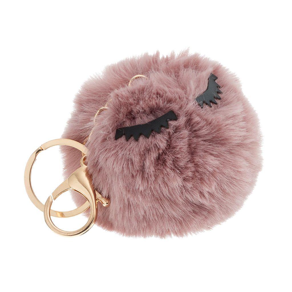 Eyelashes Pom Pom Key Chain