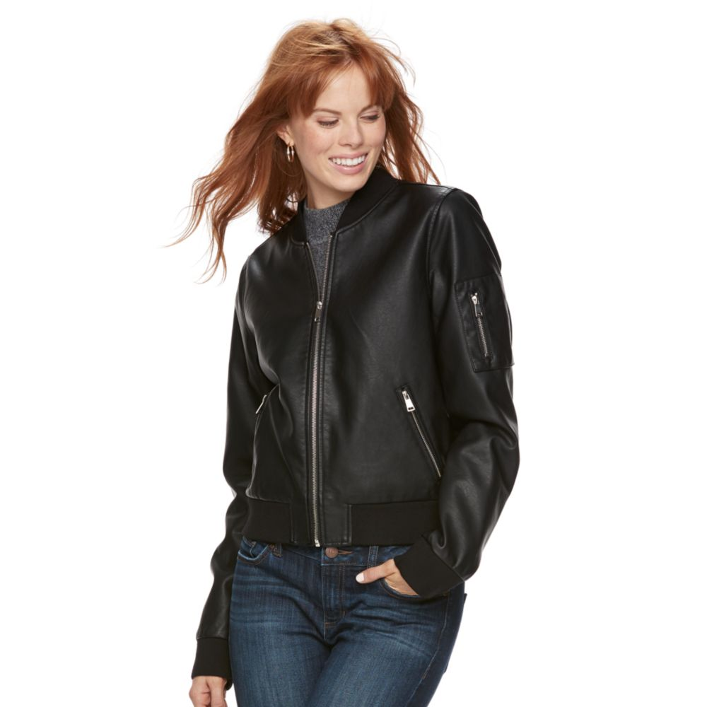 Sebby Collection Faux-Leather Bomber Jacket