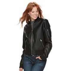Women's Sebby Collection Faux-Leather Bomber Jacket