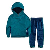 Toddler Boy Nike Therma-FIT Blue Pullover Logo Hoodie & Pants Set