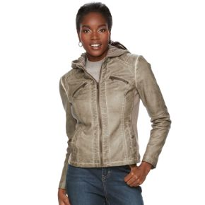 Women's Sebby Collection Faux-Leather Hooded Jacket