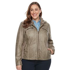 Plus Size Sebby Collection Faux-Leather Hooded Jacket