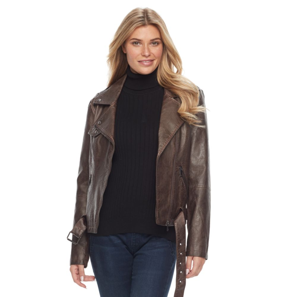Sebby Collection Faux-Leather Moto Jacket