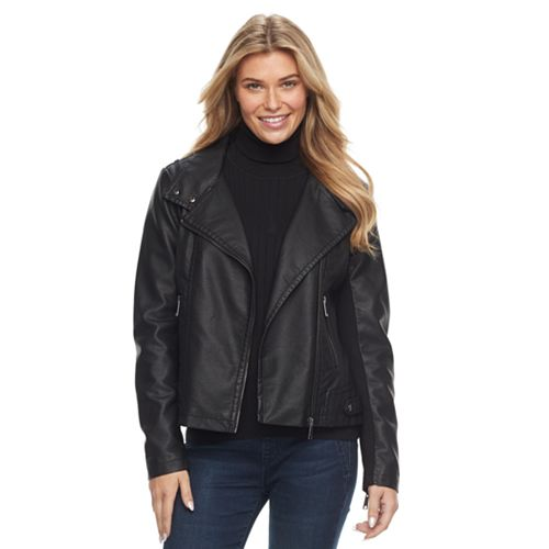 Women's Sebby Collection Asymmetrical Faux-Leather Jacket