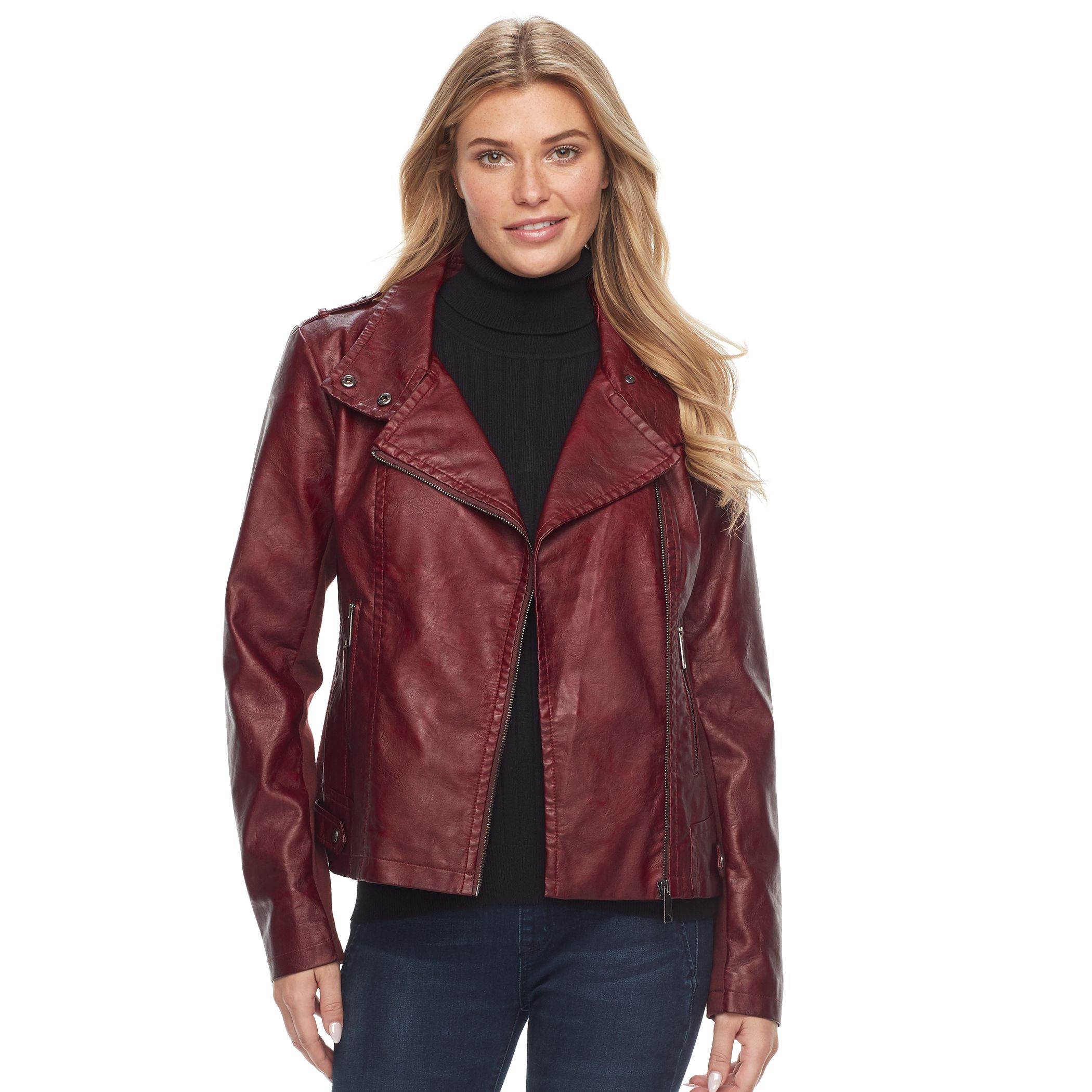 Leather jacket hoodie combo womens