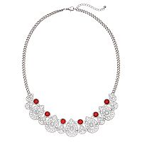 Red Stone Openwork Teardrop Necklace