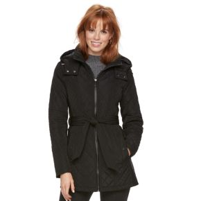 Women's Sebby Collection Faux-Leather Trim Quilted Jacket