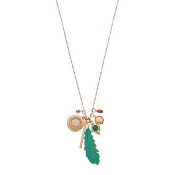 Feather, Disc & Bar Charm Long Necklace