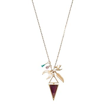 Triangle, Feather & Bird Charm Long Necklace