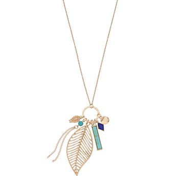 Long Tassel, Leaf & Simulated Turquoise Bar Charm Pendant Necklace