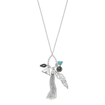 Long Tassel, Triangle & Feather Charm Pendant Necklace