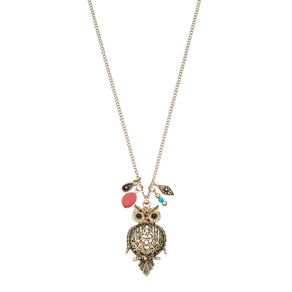 Long Puffed Owl Pendant Necklace
