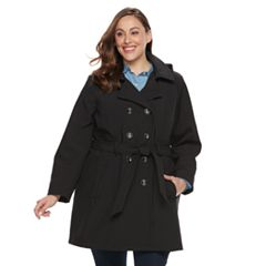 Plus Size Sebby Collection Soft Shell Trench Coat