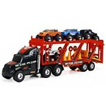"New Bright 22"" Big Foot Car Carrier with 4 Trucks & Accessories"