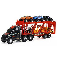 New Bright 22' Big Foot Car Carrier with 4 Trucks & Accessories
