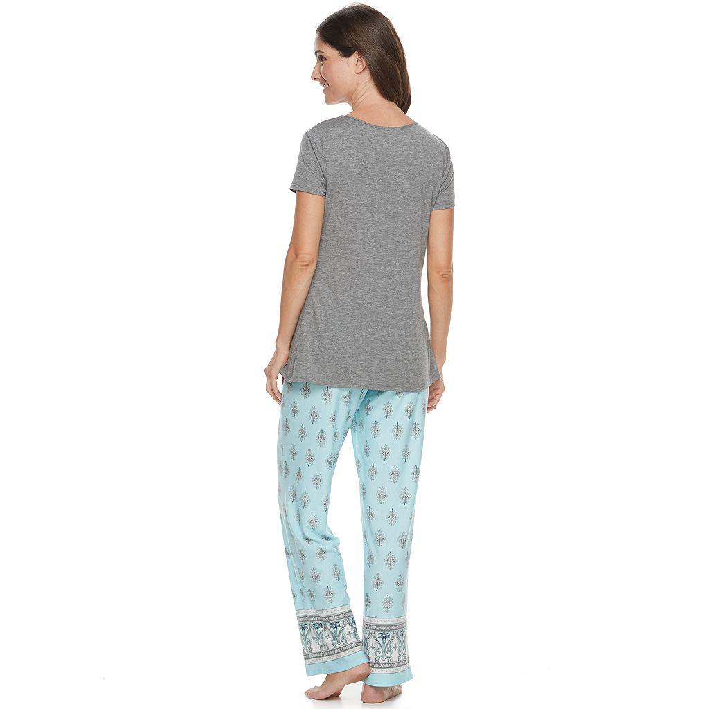 Women's Croft & Barrow® Pajamas: Lace Trim Tee & Pants PJ Set