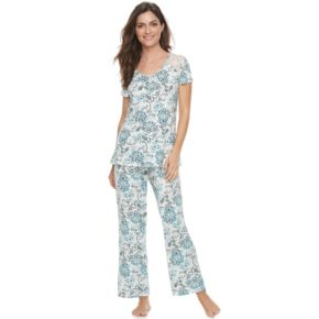 Women's Croft & Barrow® Pajamas: Lace Trim Tee & Pants PJ Set