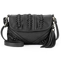 Kiss Me Couture Tassel & Whipstitch Flap Crossbody Bag