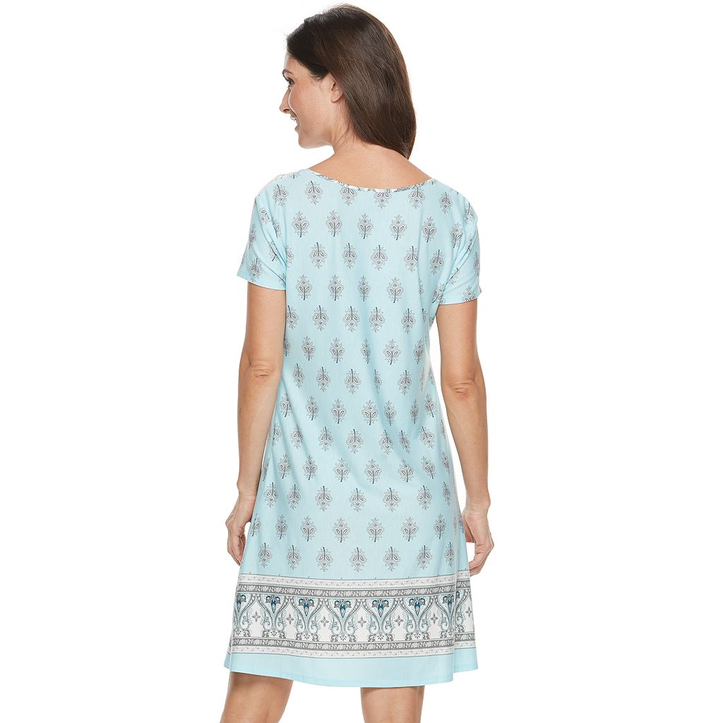Women's Croft & Barrow® Pajamas: Lace Trim Sleep Shirt